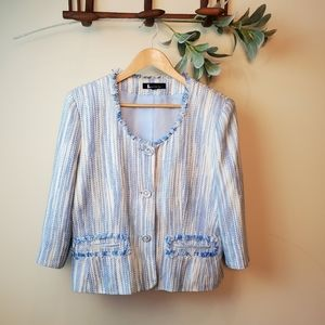 Larry Levine Suite Jacket Blue and White 16